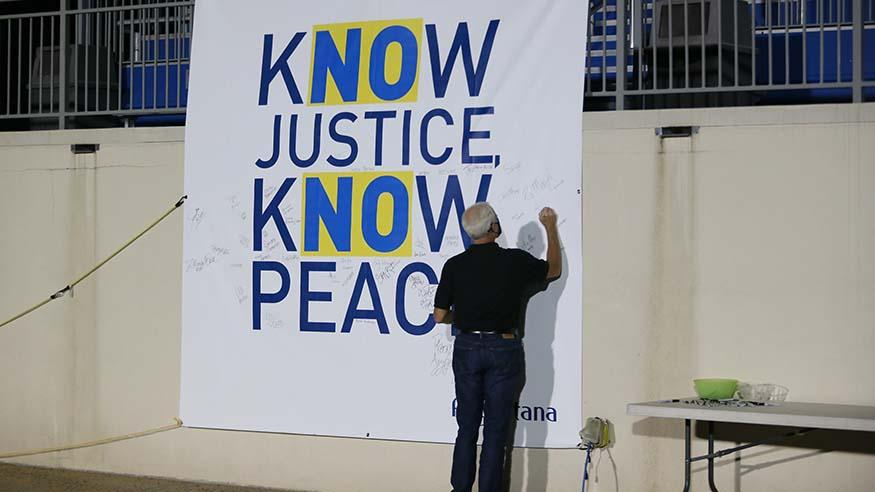 Know Justice, Know Peace banner